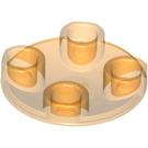 LEGO Transparent Orange Plate 2 x 2 Round with Rounded Bottom (2654 / 28558)