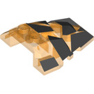LEGO Transparent Orange Roof Rock Tile 4 x 4 with Jagged Angles with Lava Crust Decoration (24374)