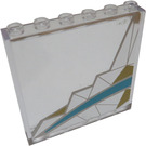 LEGO Transparent Panel 1 x 6 x 5 with Silver and Light Blue Pattern Left From set 41106 Sticker