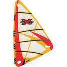 LEGO Transparent Plastic Sail 9 x 15 with Red Xtreme Team Logo Decoration