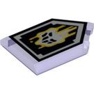 LEGO Transparent Purple Tile 2 x 3 Pentagonal with Decoration (30955)