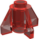 LEGO Transparent Red Brick 1 x 1 Round with Fins