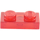 LEGO Transparent Red Plate 1 x 2 (3023 / 6225)