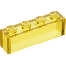 LEGO Transparent Yellow Brick 1 x 4 without Stud Bars (3066)