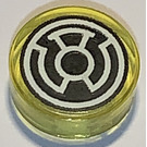 LEGO Transparent Yellow Tile 1 x 1 Round with Yellow Lantern Logo Pattern