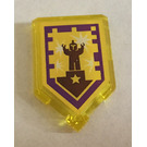 LEGO Transparent Yellow Tile 2 x 3 Pentagonal with Standing Ovation Power Shield