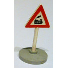 LEGO Triangular Roadsign with train crossing (left) pattern with base Type 2