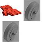 LEGO Vehicle Base 10 x 4 with Two Wheels Light Gray