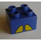 LEGO Violet Duplo Brick 2 x 2 with Decoration