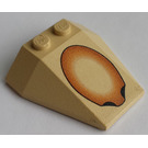 LEGO Wedge 4 x 4 Triple with Brown Oval without Stud Notches (6069)