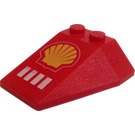 LEGO Wedge 4 x 4 Triple with Shell Logo without Stud Notches (6069)