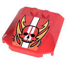LEGO Wedge 4 x 4 x 0.66 Curved with Flaming Skull Sticker (45677)