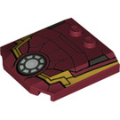 LEGO Wedge 4 x 4 x 0.66 Curved with Iron Man Bonnet (24832)