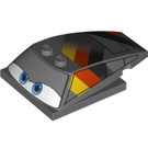 LEGO Wedge 6 x 4 x 1.333 with 4 x 4 Base with Blue Eyes, Black, Red and Yellow Pattern (70137 / 93591)