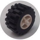 LEGO Wheel Centre Wide with Stub Axles with Tire 21mm D. x 12mm - Offset Tread Small Wide with Slightly Bevelled Edge and no Band (30190)