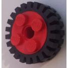 LEGO Roue Jante 10 x 17.4 avec 4 Goujons et Technic Peghole avec Narrow Pneu 24 x 7 avec Ridges Inside (6248)