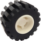 LEGO Wheel Rim Wide Ø11 x 12 with Notched Hole with Tire 21mm D. x 12mm - Offset Tread Small Wide with Bevelled Tread Edge (6014)