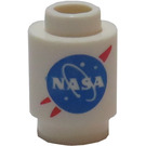 LEGO White Brick 1 x 1 Round with NASA Decoration with Open Stud