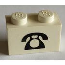 LEGO White Brick 1 x 2 with Black Telephone Decoration