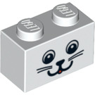 LEGO White Brick 1 x 2 with Cat Face (89082)
