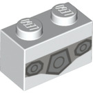 LEGO White Brick 1 x 2 with Decoration (42804)