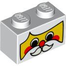 LEGO White Brick 1 x 2 with Decoration (95513)