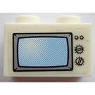 LEGO White Brick 1 x 2 with TV screen Sticker