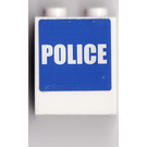 LEGO White Brick 1 x 2 x 2 with Blue and White Police Sticker From Set 7498