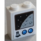 LEGO White Brick 1 x 2 x 2 with Planet, Space and 2 Blue Buttons Sticker from Set 3831 with Inside Axle Holder