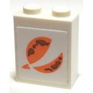 LEGO White Brick 1 x 2 x 2 with Planet Symbol Sticker with Inside Stud Holder