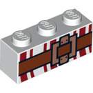 LEGO White Brick 1 x 3 with Belt and Red Stripes (33501)