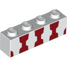 LEGO White Brick 1 x 4 with Decoration (33603)