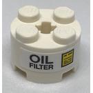 "LEGO White Brick 2 x 2 Round with ""Oil Filter"" Sticker"