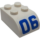 LEGO White Brick 2 x 3 with Curved Top with '06' Sticker