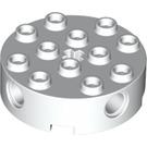 LEGO White Brick 4 x 4 Round with Holes (6222)