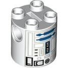LEGO White Cylinder 2 x 2 x 2 Robot Body with R2-D2 (Undetermined) (83716)