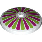 LEGO White Dish 4 x 4 Inverted with Lime and Magenta Stripes Decoration with Solid Stud (17160)