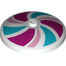 LEGO White Dish 4 x 4 Inverted with Magenta, Bright Pink and Medium Azure Swirl Decoration with Solid Stud (17161)