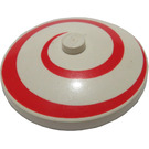LEGO White Dish 4 x 4 Inverted with Red Spiral with Solid Stud