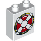 LEGO White Duplo Brick 1 x 2 x 2 with Decoration with Bottom Tube (26289)
