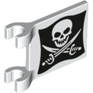 LEGO White Flag 2 x 2 with Jolly Roger Pattern (19523)