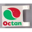 LEGO White Flag 2 x 2 with Red and Green Octan Logo Decoration