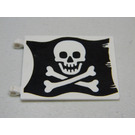 LEGO White Flag 6 x 4 with 2 Clips with Jolly Roger on Black Background Decoration