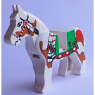 LEGO White Horse with Green Blanket and Red Hand on Left Side