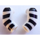LEGO blanc Minifigure Arms (Left and Right Pair) with Black Stripes Pattern