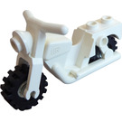 LEGO White Motorcycle with Transparent Wheels - Full Assembly