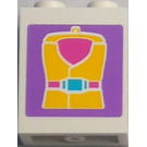 LEGO White Panel 1 x 2 x 2 with Yellow Life Suit Sticker
