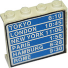 LEGO White Panel 1 x 4 x 3 with Flight Schedule with 'Tokyo 6:10', 'London 10:45', etc. Sticker without Side Supports, Solid Studs