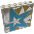 LEGO White Panel 1 x 6 x 5 with Light Blue Star on Silver and Gold Background Left From set 41106 Sticker