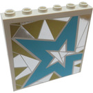 LEGO White Panel 1 x 6 x 5 with Light Blue Star on Silver and Gold Background Right From set 41106 Sticker